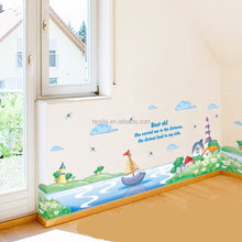Hot sales creative removable baby's room school class children's room colorful sailboat beautiful wall stickers for decoration