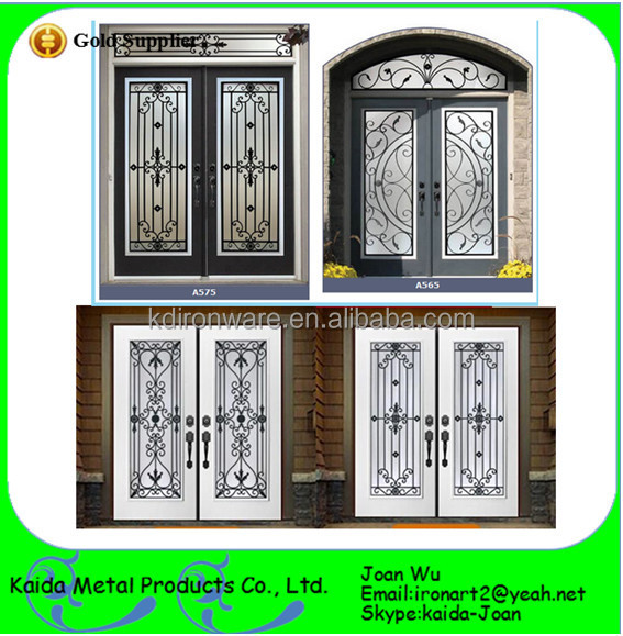 Black wrought iron entry door inserts wholesale buy for Cheap black exterior doors