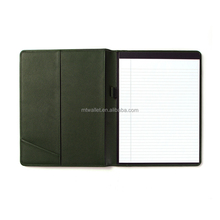 Factory customize genuine leather a4 notepad folder leather folder with notepad