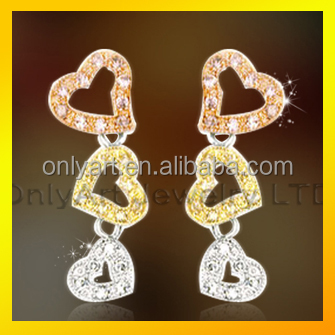 fashion heart dangle earring with colored AAA graded CZ stones 925 sterling silver earring