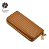 sheepskin leather purse wallet factory wholesale lamb skin leather woman purse lady zipper leather wallet