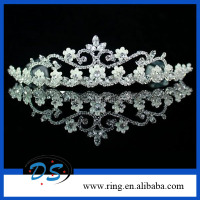 Charms Crystal Pearl Flower Crown With Combs Bridal Tiaras For Wedding