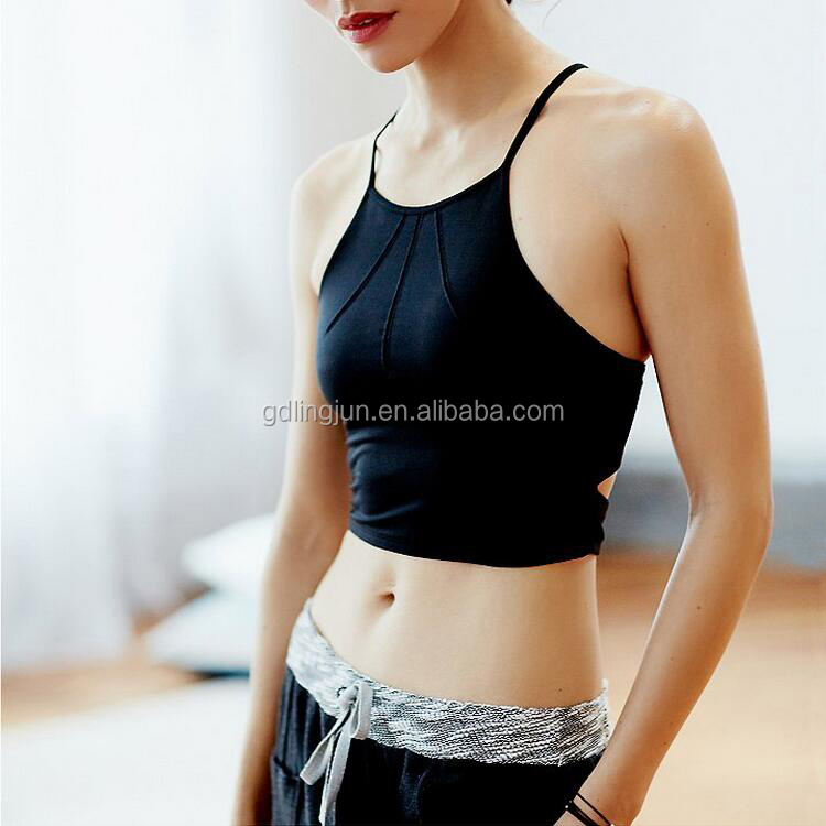 2017 New Black Sexy Fitness Wear Bra Wholesale Ladies Sports Bra Hot Top Plus Size Women's Running Yoga Sports Bra OEM Custom