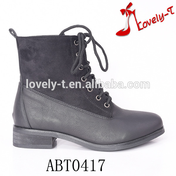 new design lady lace up low heel hiking ankle boots