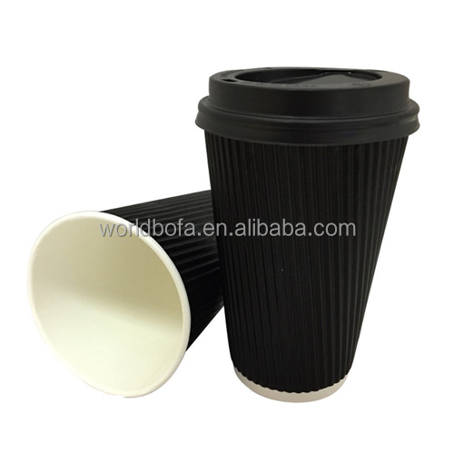 12OZ Black Ripple Paper Walled Disposable Tea Coffee Hot Drinking Cup With lid