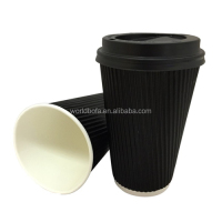 Custom printing black ripple wall hot coffee paper cup with lid