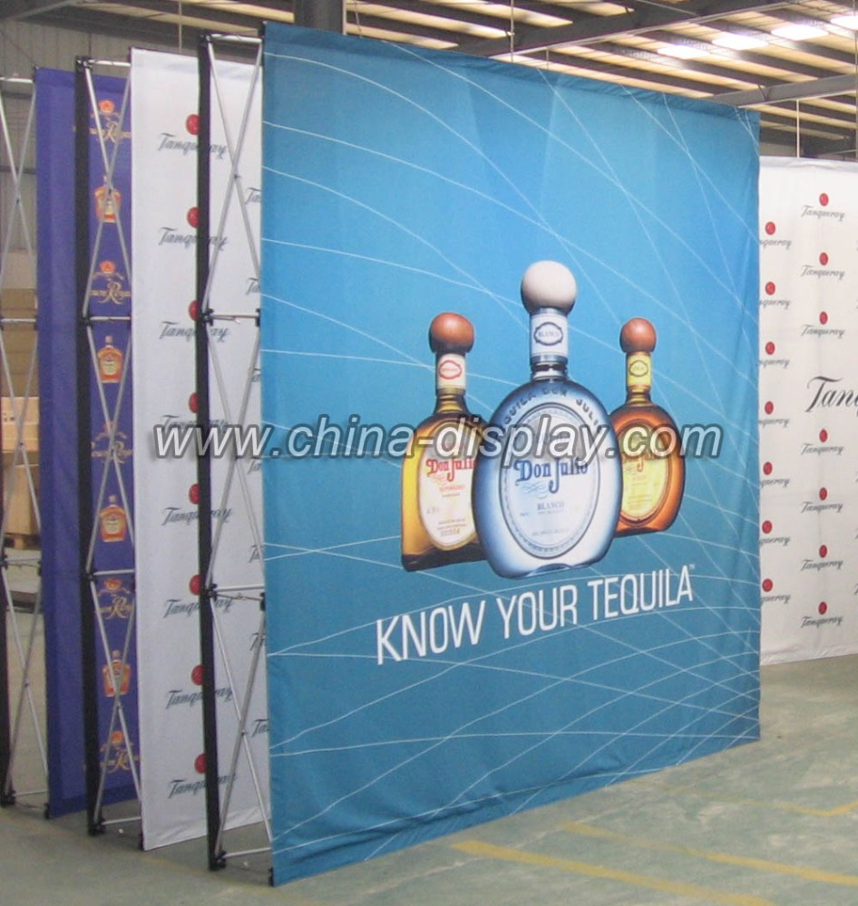 8feet 10feet Trade show booth display Fabric velcro pop up folding display stand