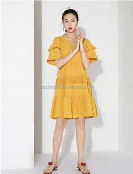Chic loose flouncing flare sleeve V neck bandage A-line short sleeve dress