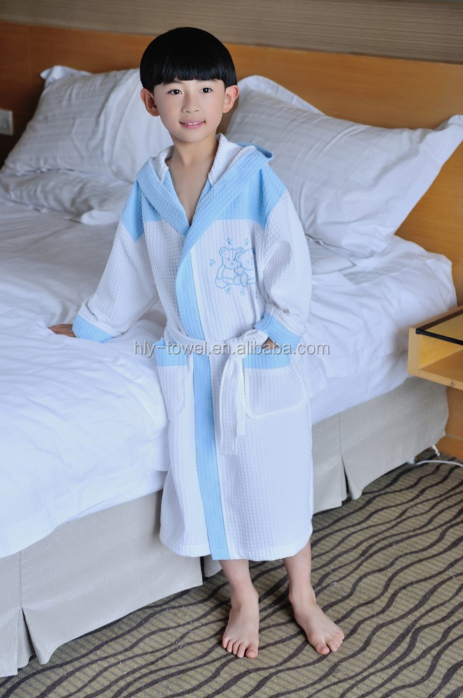 Children patterned waffle cotton bathrobe with hooded evening gowns
