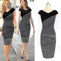 Blending Stripe Patchwork Knee-Length Sheath Sexy Woman's Dress New Designer Clothing