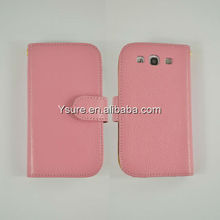 For Samsung i9300 fantastic genuine leather phone case cover with strip wallet design 2013 newest!