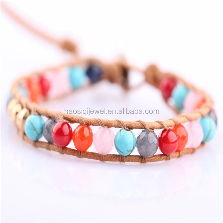 beautiful women bracelet, 6mm oval turquoise 7 color agate red coral bead bracelet
