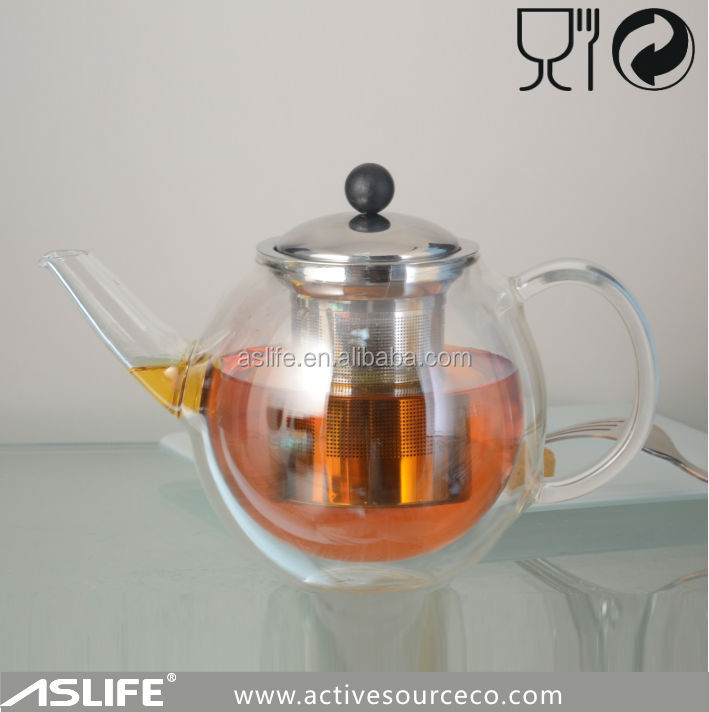AST2431-700ml 23.5oz Resisting High Temperature Glass Tea Drinking Pots!Hot Manual Blown Borosilicate Double Wall Glass Teapot