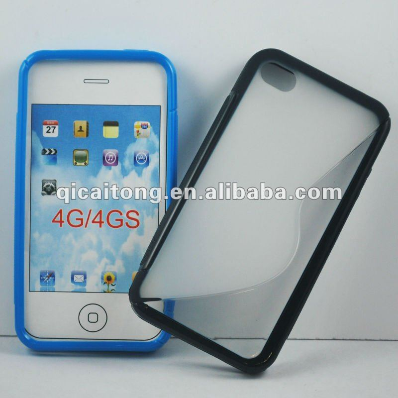 cellphone double-color S-line TPU case for iphone 4g/4s