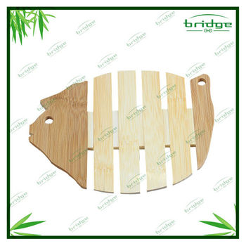 coaster Eco-friendly fish shape cute bamboo cup mat or wooden coaster