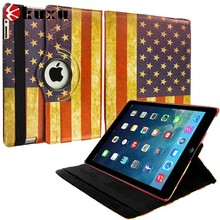American Flag Rotating Leather Pouch Protective Case Cover Stand for Apple iPad Air