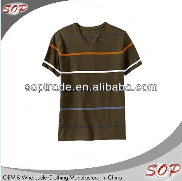 Online shopping china clothes short sleeve deep v neck t shirt for men with striped