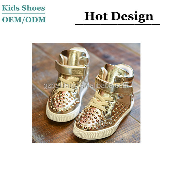fashion style oem gold sneakers wholesale china custom sneakers kids shoes