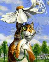 GX8338- 40*50 handmade beautiful flower umbrella and cat oil painting by numbers on canvas