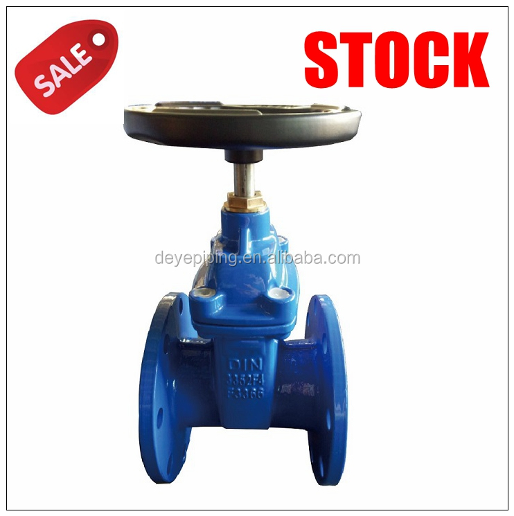 DIN PN10 PN16 GOST Py16 Ductile iron Rubber Seat flange Gate Valve in Stock
