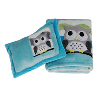 applique silky soft flannel baby blanket with pillow set
