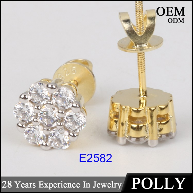 925 silver AAA CZ jewelry two tone hip hop earring for women