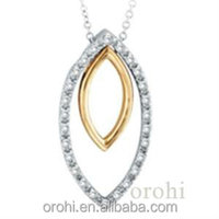 sterling silver pendant set with diamonds or cz, rhodium and gold lated HP14