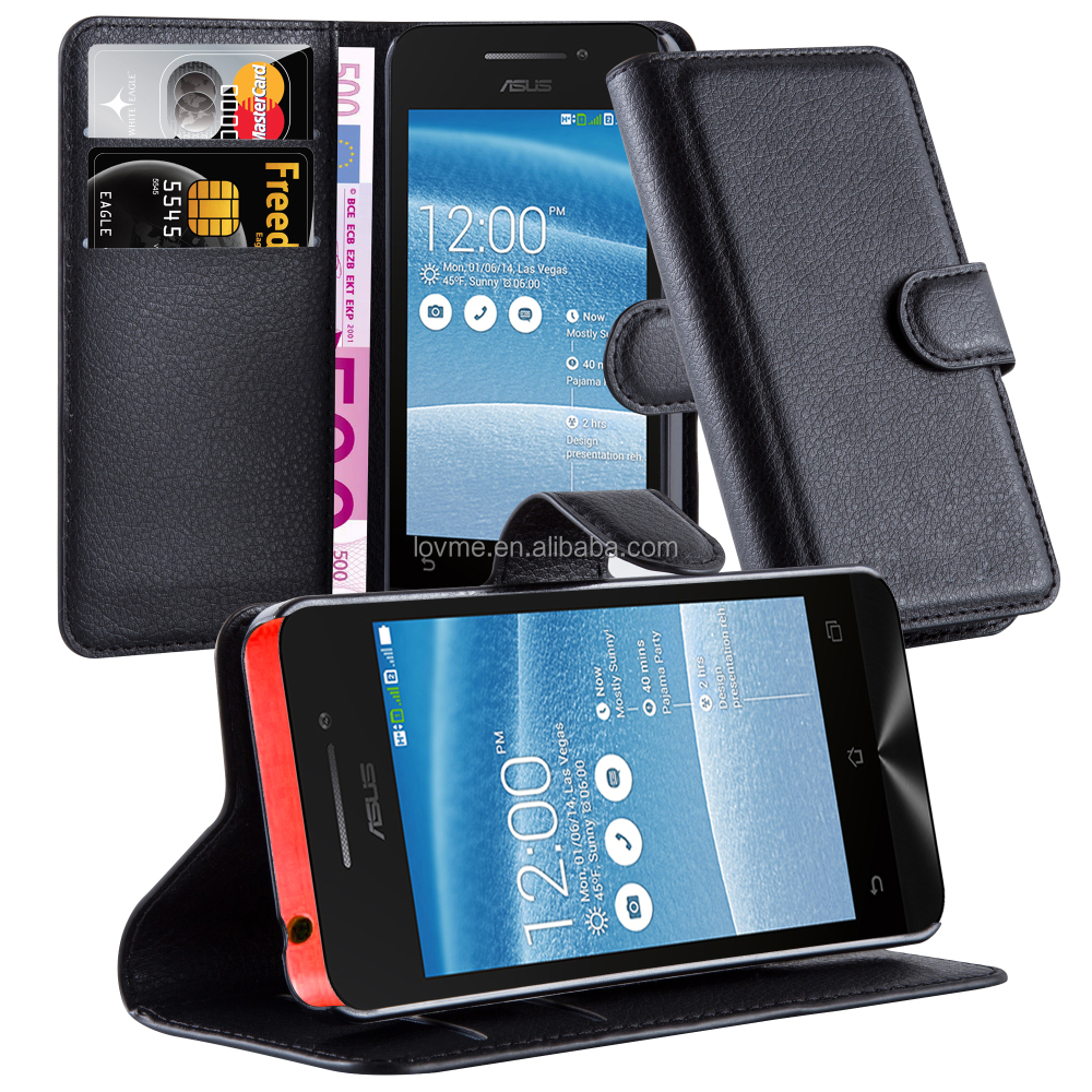 High Quality Lichee Pattern Phone Case Cover With Stand Card Slots For Asus Zenfone 4
