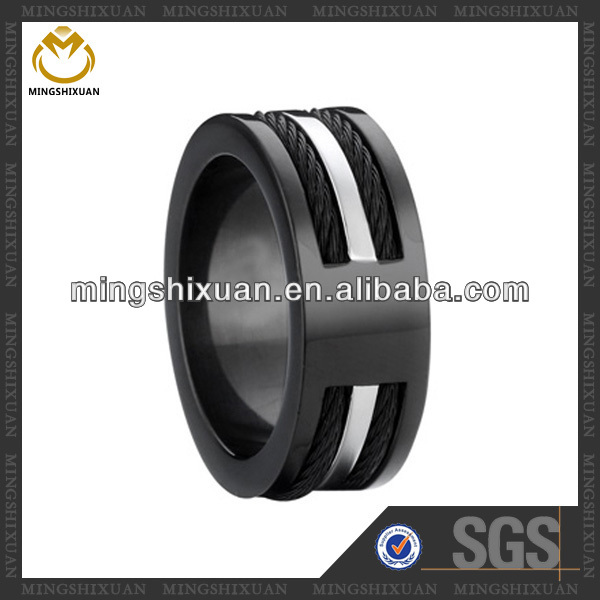 Cool wire designed black color steel jewelry young boy ring