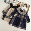 KS21140G 2018 Summer new design plaid linen style dess for girls