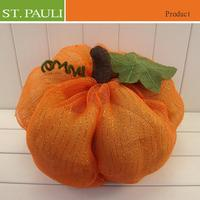 hot selling halloween fall table decorative orange mesh fabric stuffed pumpkin
