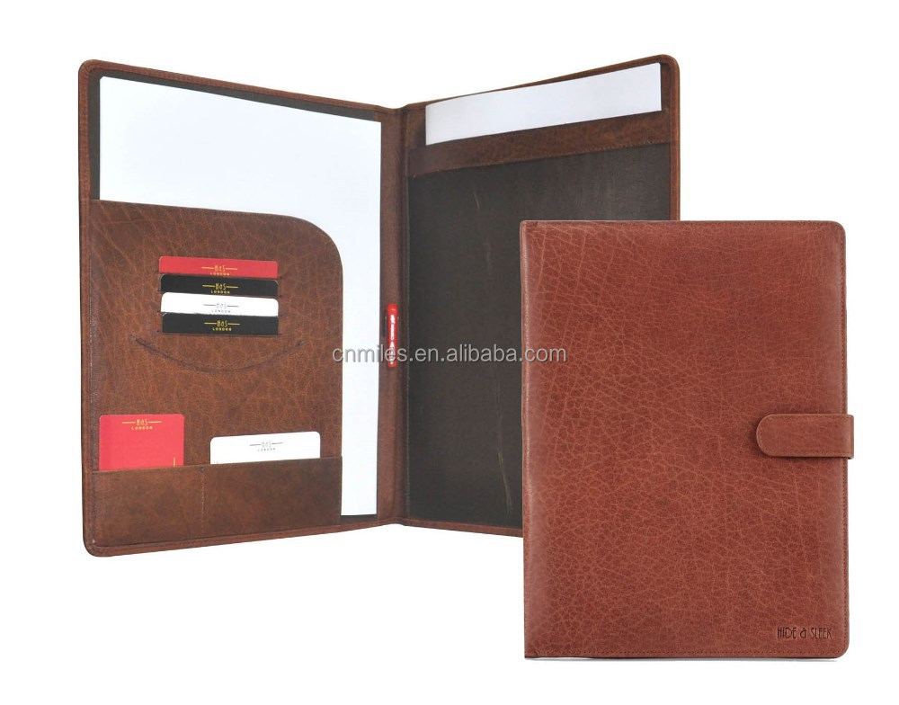 Genuine Leather Conference file Folder with Multi Pockets - Brown