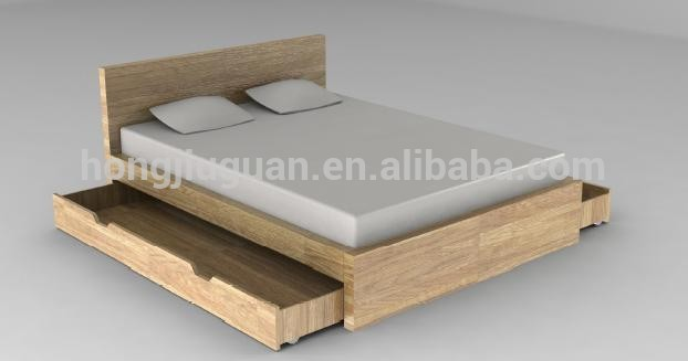 Latest design wooden double bed with box buy wood double for Double bed with box design