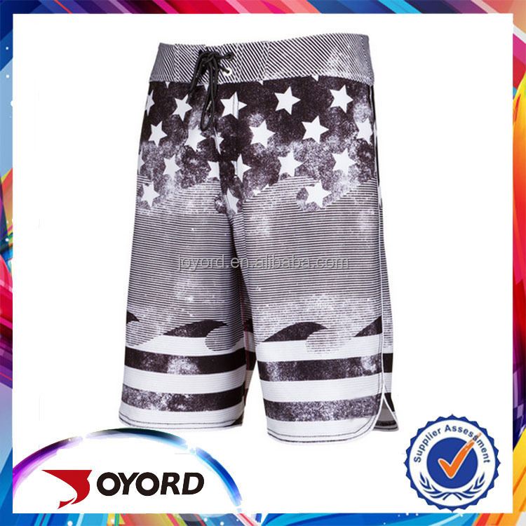 Hot selling star lycra fabric boys swim trunks