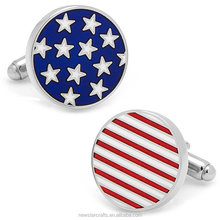 Stars and Stripes USA Flag Metal Enamel Cufflinks