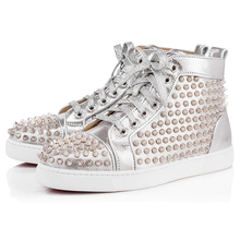 Lady Latest Design Lace Up Studded High Ankle Sport Shoes Women Sneakers