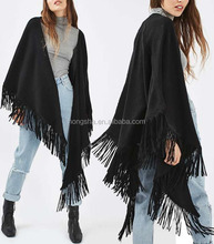 Boho Scarf-Style Fringed Suede Fabric Coat Cape Poncho For Women HSC5755
