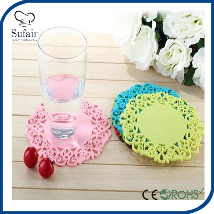 Custom wholesale silicone glass bottle mats tea cup mat coaster pad juice cup mat