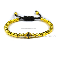 New Anil Arjandas Bracelet man 2016 Micro Pave ball Black Cz Beads Briading Macrame Bracelet woman Jewelry
