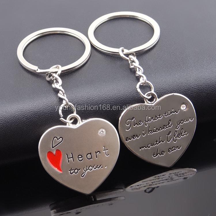 heart with letters keychain 2017 valentine's day couple key ring