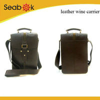faux PU leather wholesale 2 bottle wine carrier wine bag
