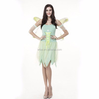 Tinker Bell Costume Tiny Fairy Spirit Peter Pan Miss Bell Cosplay Costume Light Green Fancy Dress Halloween Costume for Women