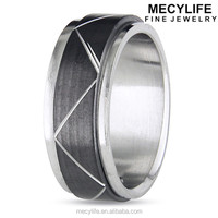 MECYLIFE Fashion Unique Pattern Stainless Steel Man's Black Spinning Ring