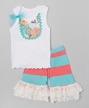OEM Infant baby girls casual sleeveless flower ruffle tank tops & lace trim shorts outfits toddler boutique summer clothing set