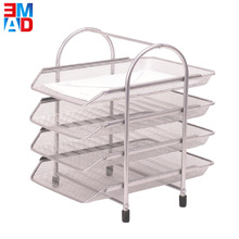 Sturdy office metal wire mesh desk a4 paper 4 tiers document file tray