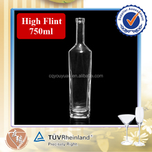 High flint cork top empty 750ml glass bottle of red wine