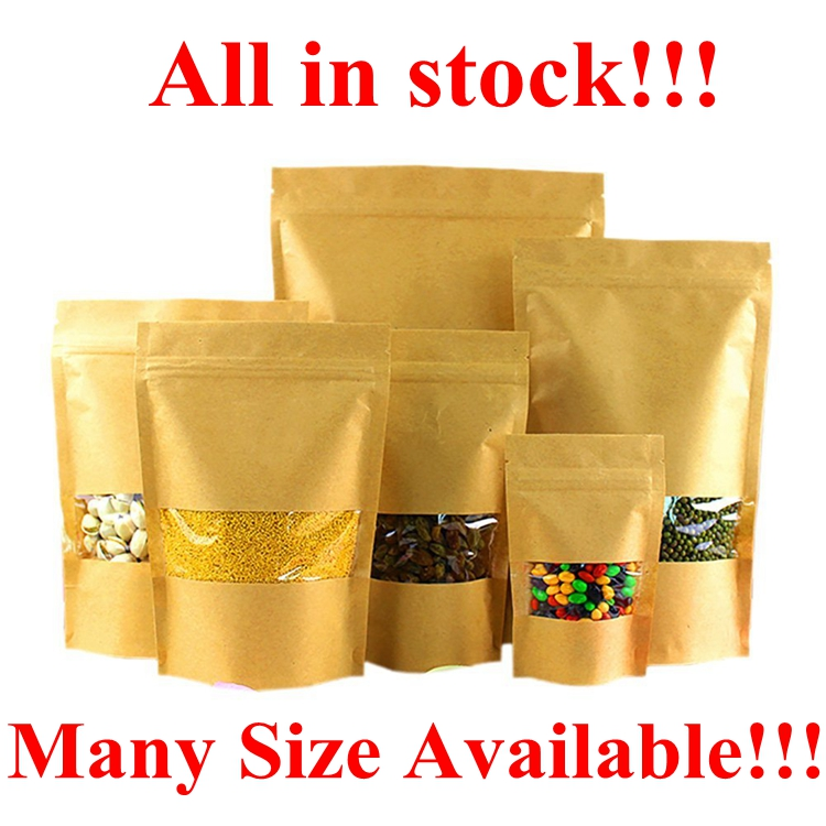 In Stock 9*14+3 CM Clear Waterproof Brown Kraft Paper <strong>Rice</strong> Bag With PVC Window