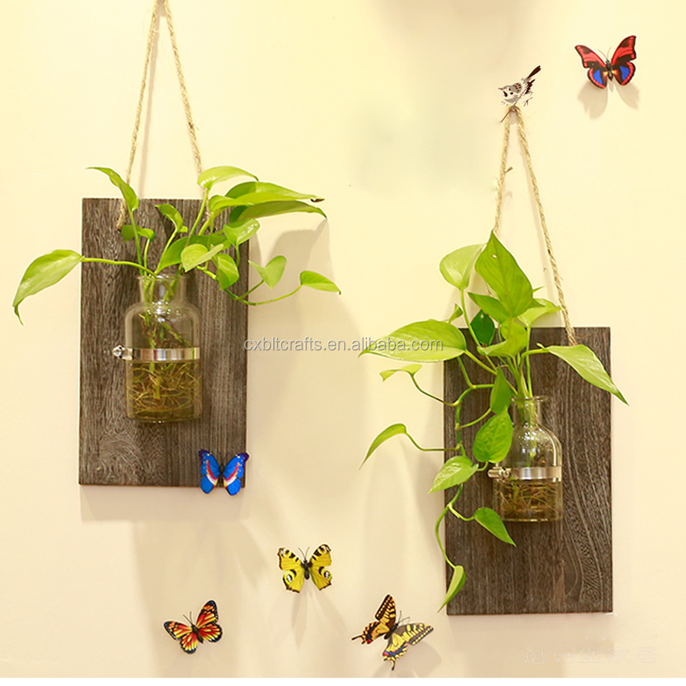 Wall Hanging Decorative Indoor Wooden Planters Hydroponics