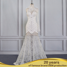Sheer Lace Appliqued Romantic Long Sleeve Chiffon Mermaid Wedding Dresses Real Sample