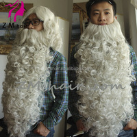 wholesale christmas long white synthetic santa claus wig and beard set